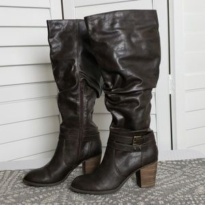 Diba Knee High Heeled Brown Boots